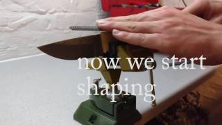 Making a knife from damasscus steel and my grandmas boxtree DIY