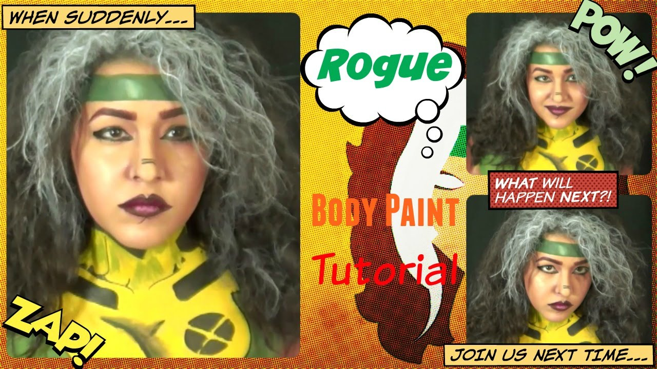 X Men Rogue Makeup And Body Paint Cosplay Tutorial Noblandmakeup