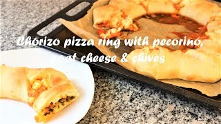 Chorizo pizza ring with pecorino, goat cheese & chives recipe