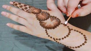 Easy Simple Mehndi Design for Back Hand | New Cotton Bud Mehndi Design Trick | Mehendi Designs