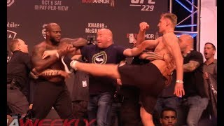 UFC 229 Ceremonial Weigh-In: Derrick Lewis & Alexander Volkov Come to Near Blows