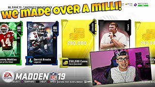 I MADE OVER 1 MILLION COINS AND RAGED? Madden 19 Ultimate Team Pack Opening