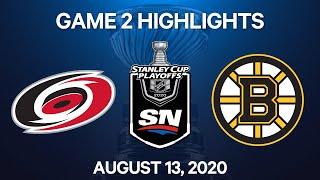 NHL Highlights   1st Round, Game 2: Hurricanes vs. Bruins – Aug. 13, 2020