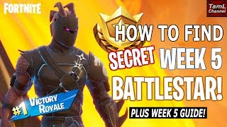 How to Find SECRET Week 5 BATTELSTAR! Plus Challenge Guide & Solo Squad Victory! (Fortnite)