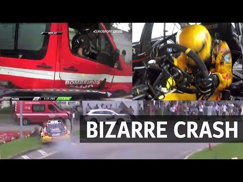 Bizarre crash into firetruck at WTCC race of Portugal for Tom Coronel 2017