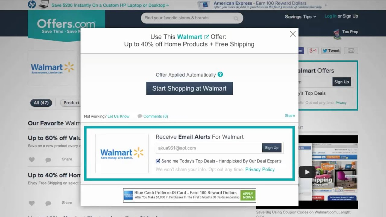 Walmart coupon code photo