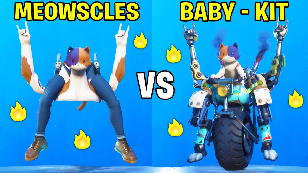 Meowscles Vs Baby Meowscles Kit In Fortnite Dances Battle Youtube Following in his father's pawprints, kit is the next generation of meowscles who built a mechanical suit for him to ride on. meowscles vs baby meowscles kit in fortnite dances battle