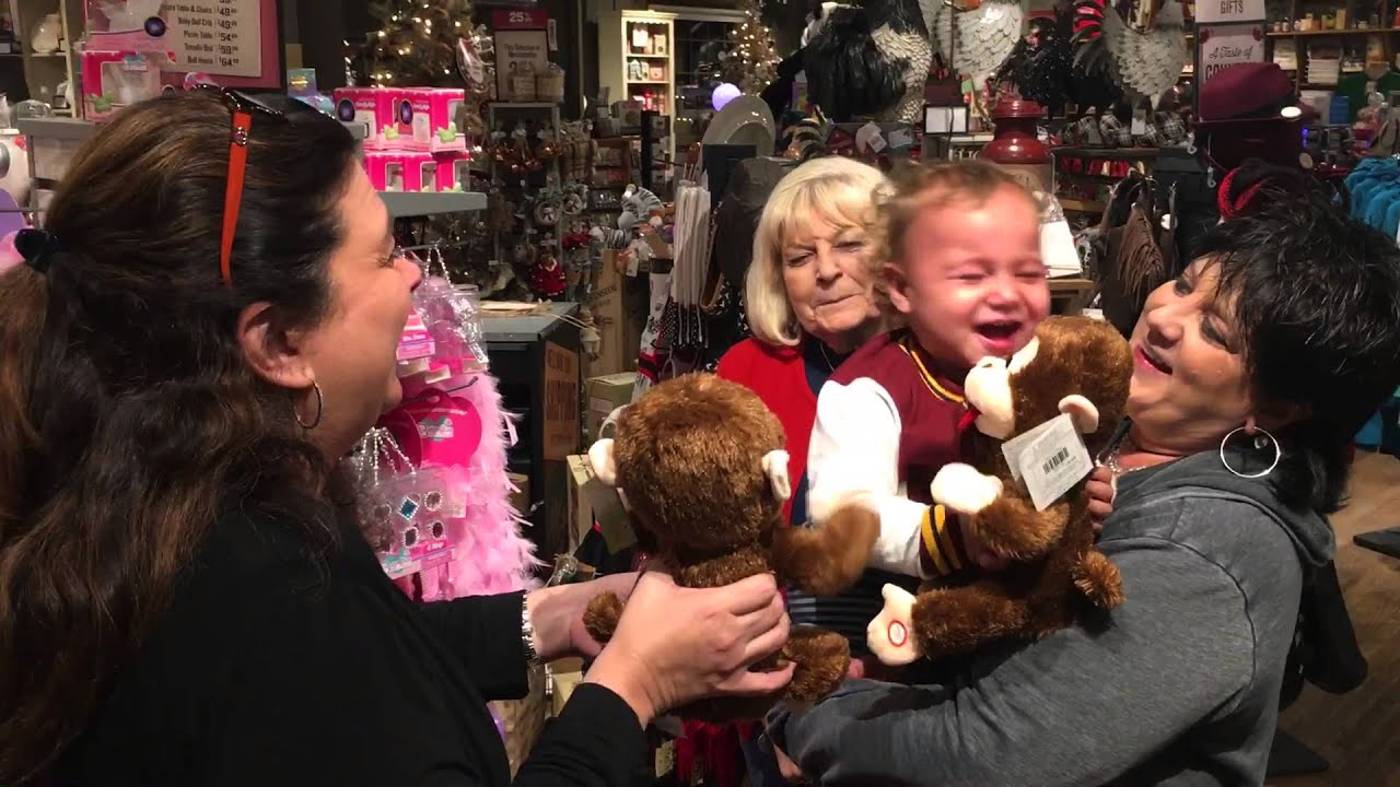 Baby Goes Bananas For Giggling Monkey Toy At Cracker Barrel Youtube
