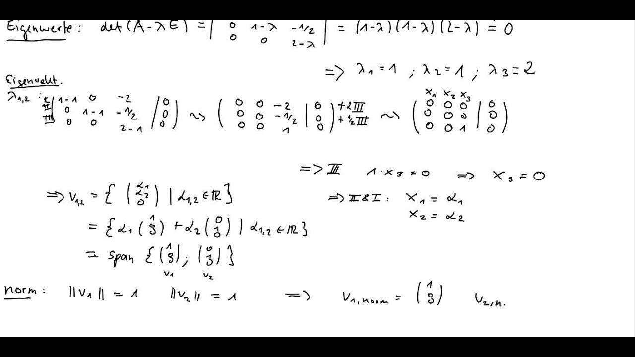 eigenwerte und normierte eigenvektoren von  matrizen