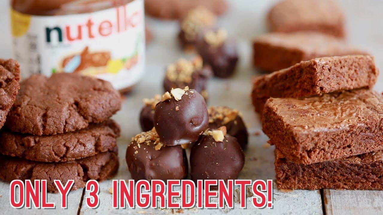 3 Ingredient Nutella Recipes Brownies Cookies Truffles Youtube