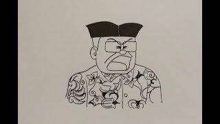 Cara Menggambar Ilustrasi Kartun Guru Nobita pada Film Doraemon