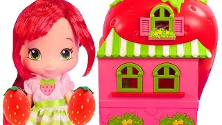 Strawberry Shortcake Doll House and Cafe *** Play doh Strawberry Surprise Eggs