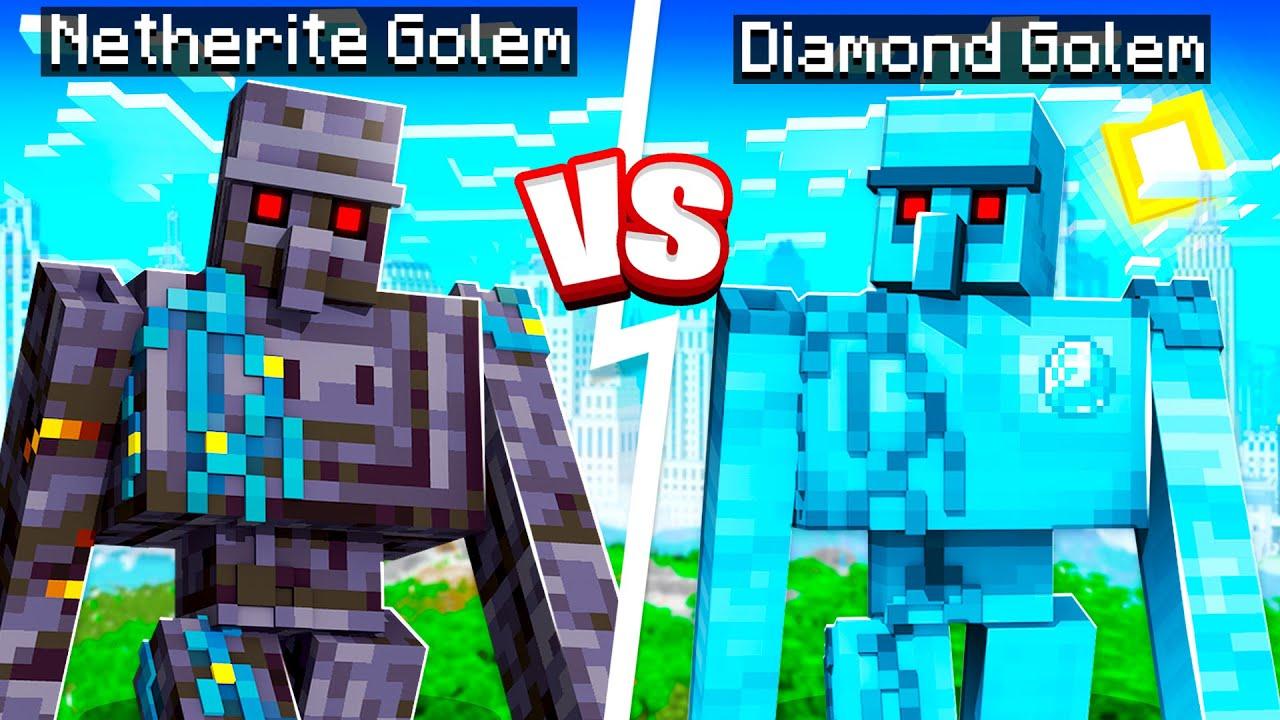 NETHERITE vs DIAMOND GOLEM in Minecraft!