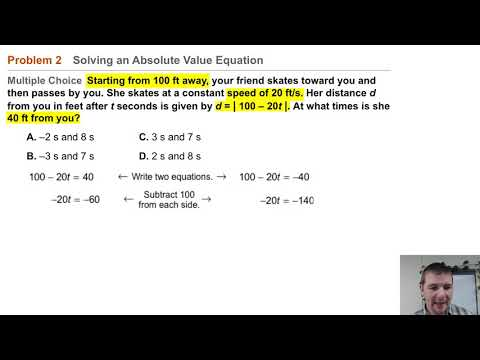 Algebra 1 3-7 Absolute Value Equations & Inequalities: Problem 2 - Solving Absolute Value Equation