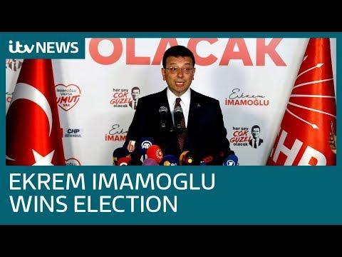 Ekrem Imamoglu wins Istanbul mayoral election for second time | ITV News