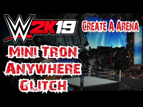 WWE 2K19 Mini Tron Anywhere Glitch - Create A Arena