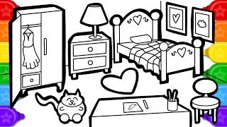 Coloring Watercolor Bedroom Colouring Page, Learn Colors Coloring and Painting for Kids