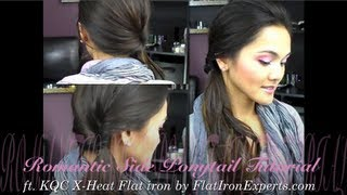 Romantic Side Ponytail TUTORIAL (ft. KQC X-Heat flat iron by Flatironexperts.com) Thumbnail