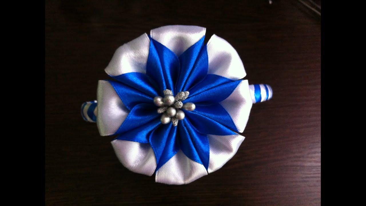 Украшение на ободок Канзаши / Двухцветный цветок - YouTube