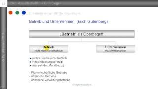 """8. Die Begriffe """"Betrieb"""" und """"Unternehmen"""" nach Gutenberg"""