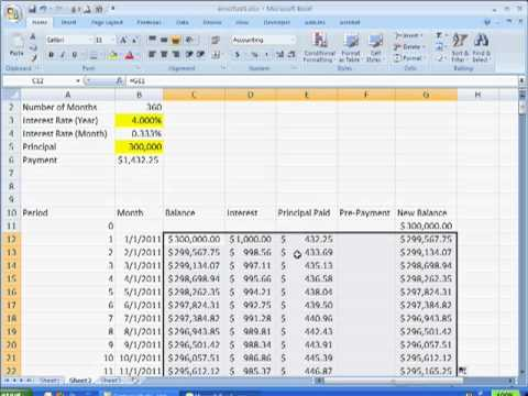 Create An Amortization Table With A PrePayment Option  Youtube