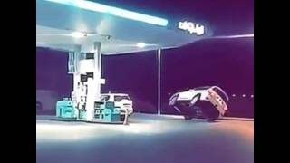 4WD driver caught doing two wheel stunt at Dubai petrol station