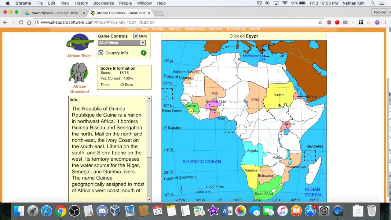 Sheppard Software: Africa 100%: 105 sec.   YouTube
