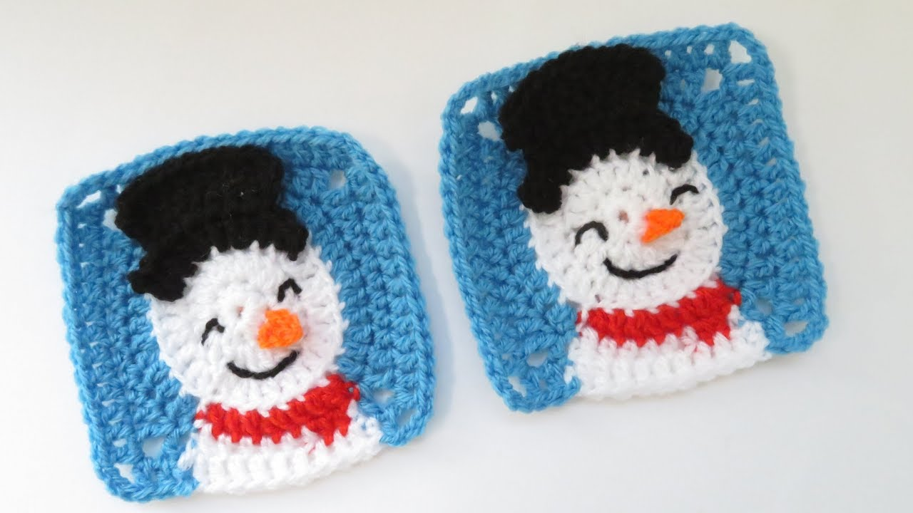 Snowman Granny Square - How to Crochet - YouTube