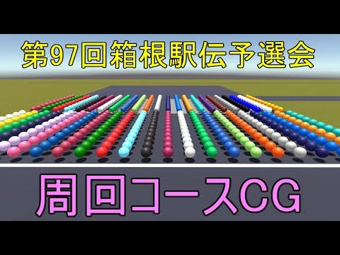 【物理エンジン】第97回箱根駅伝予選会 周回コース予想シミュレーションCG