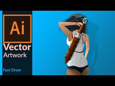 Drawing a Vector Art - Girl with sword - Speed draw in Adobe illustrator CC HD