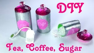 DIY Miniature Tea Bags, Coffee, Sugar & Canisters - Dollhouse Kitchen