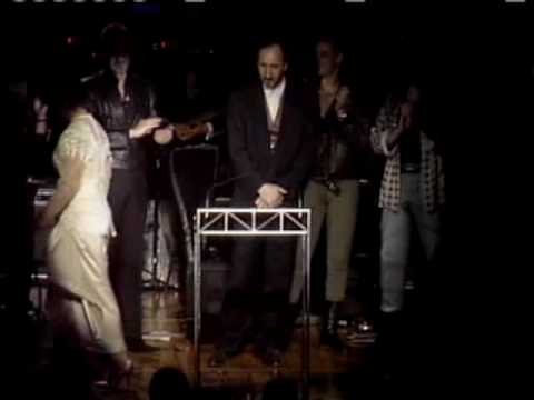 The Who accept award at Rock and Roll Hall of Fame and Museum inductions 1990