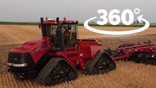 Трактор Case IH Quadtrac 600. Внутри кабины во время работы. Видео 360°