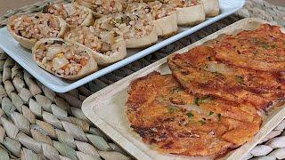 김치유부초밥과 병아리콩…