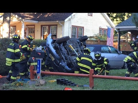 Woodland Park NJ Accident Rollover with Entrapment on the front lawn of a house190 Rifle Camp Road