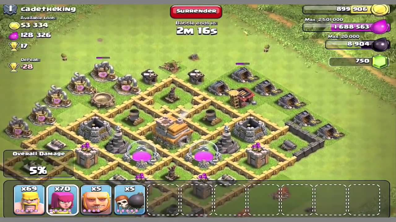 Town hall 7 best attack strategy may 2015 clash of clans