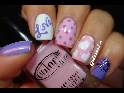 Pink Purple Valentines Nail Art Youtube