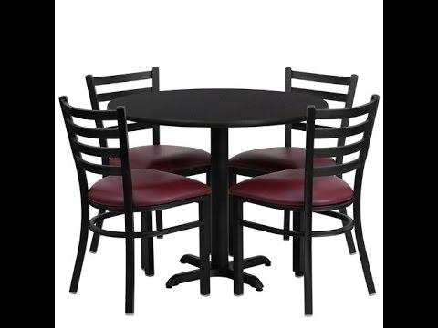 363939 Round Black Laminate Table Set Of 4 Ladder Back Metal