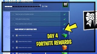 "NEW ""DAY 4"" 14 DAYS OF FORTNITE FREE REWARDS (New Free Daily Holiday Challenges)"