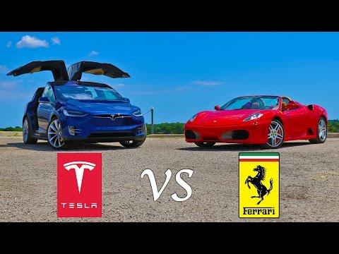 Tesla Model X P90D Ludicrous vs Ferrari F430 Drag Racing and Roll Racing
