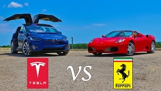Tesla Model X P90D Ludicrous vs Ferrari F430 Drag Racing and Roll Racing