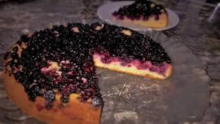 Пирог с замороженными ягодами. Пирог на кефире. Простой рецепт.