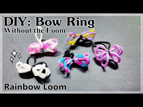 Rainbow Loom MINI BOW RING without the loom | Thun Cầu Vồng NHẪN NƠ NHỎ không dùng bàn đan.