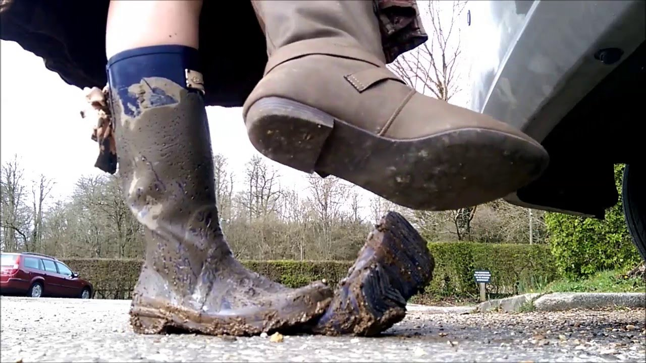 Blue Purple Rockfish Wellies In Muddy Puddles Stuck In