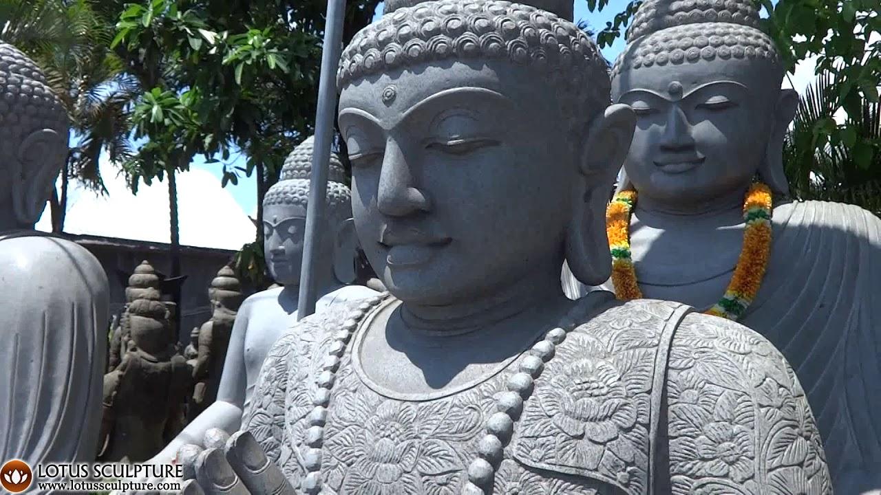 Large Stone Namaste Buddha Statue With Batik Dress Malas Www