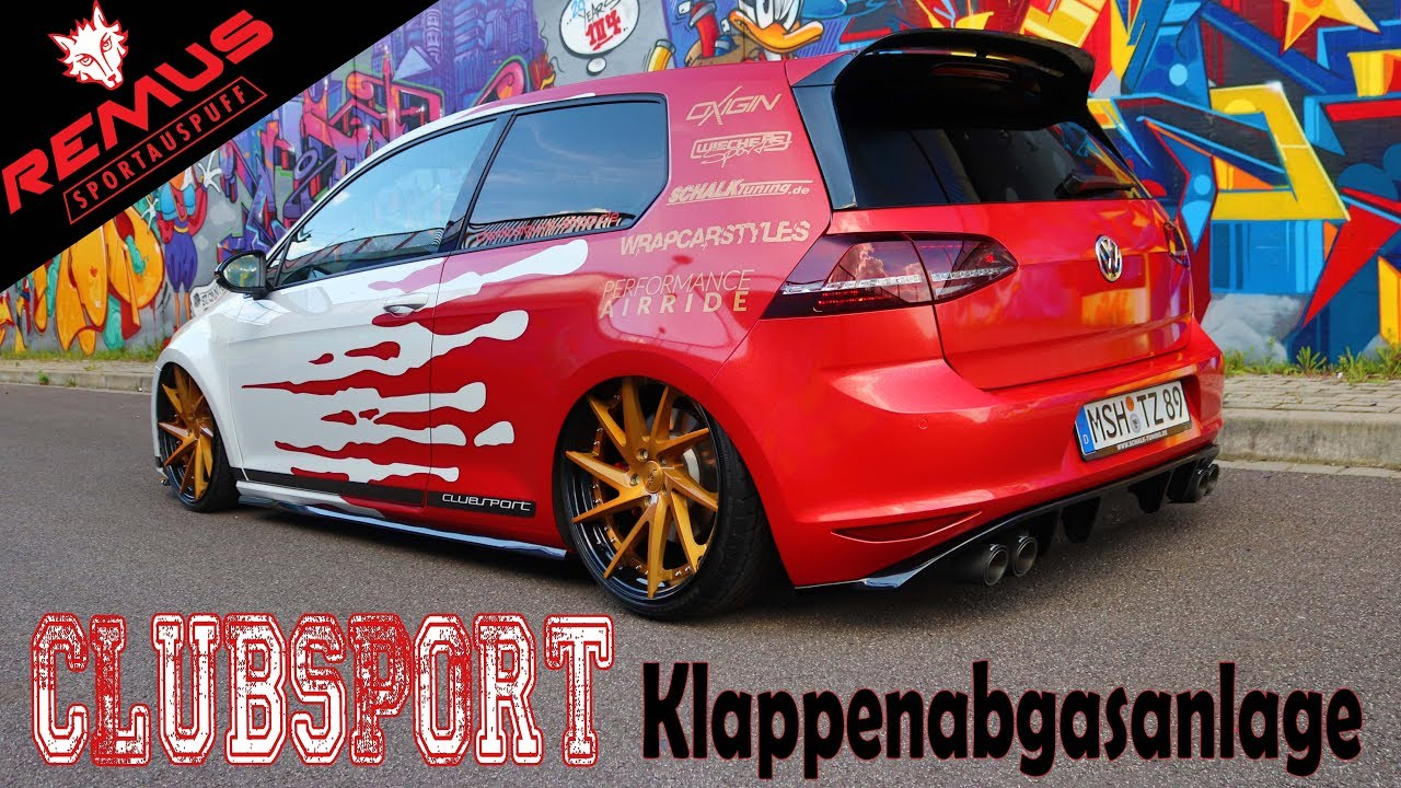 vw golf 7 gti clubsport klappenauspuff remus exhaust. Black Bedroom Furniture Sets. Home Design Ideas