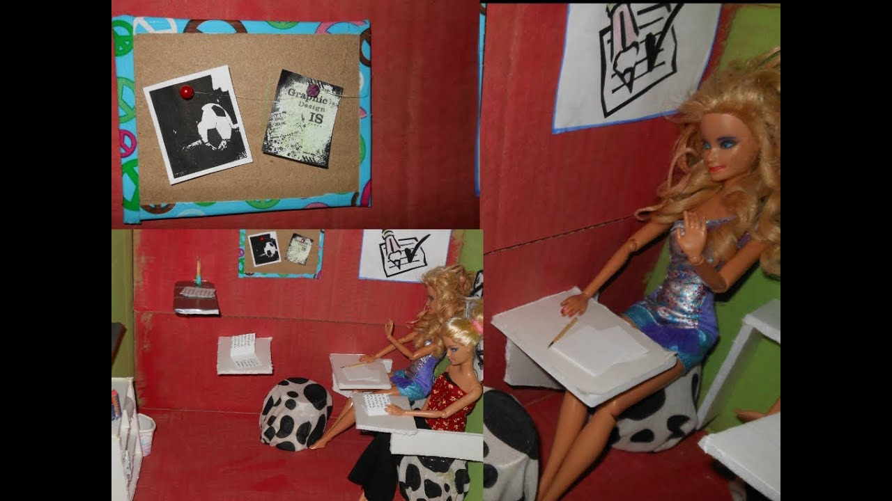 How To Make Doll Classroom, Bulletin Board, Chair And Desk, Furniture And  More