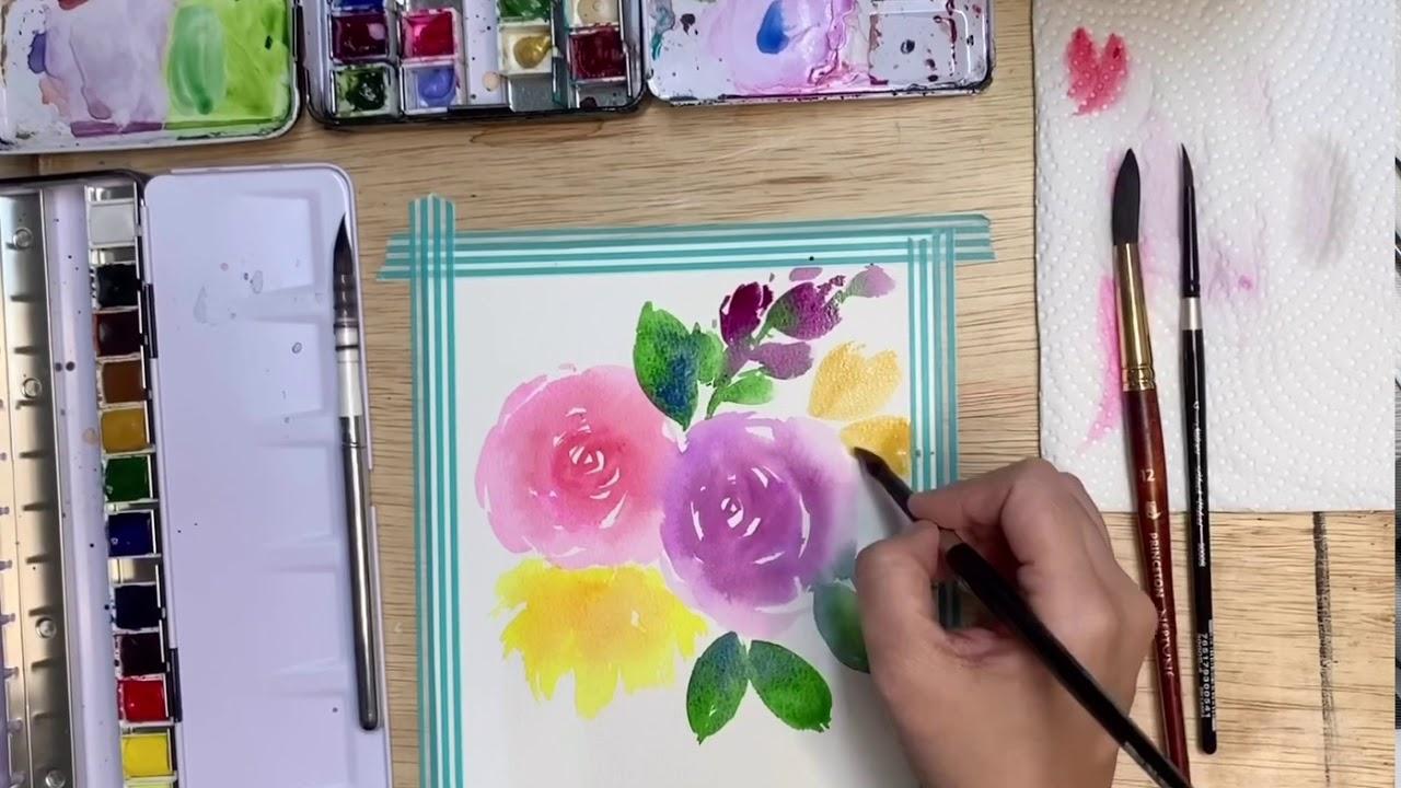 Watercolor Loose Florals Timelapse Tutorial by Zoe Wu