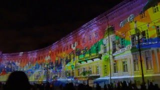 2015 декабрь Новогоднее световое шоу на Дворцовой Санкт-Петербург