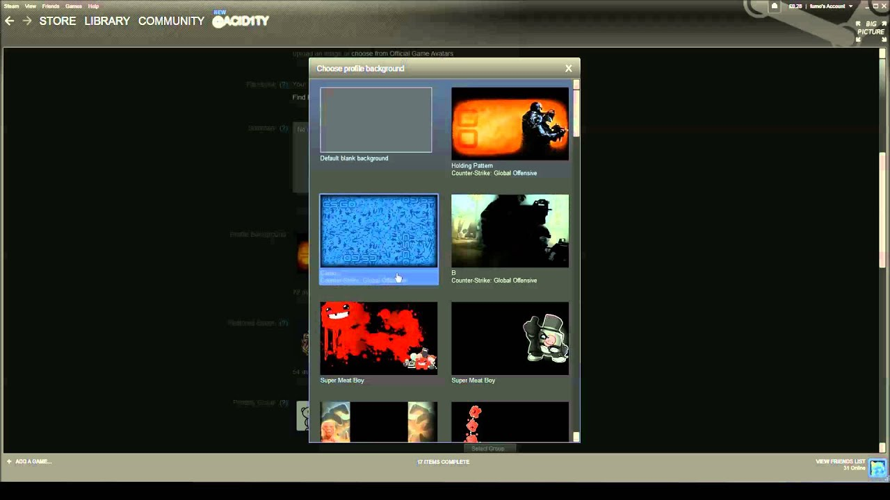 how to set a steam profile background